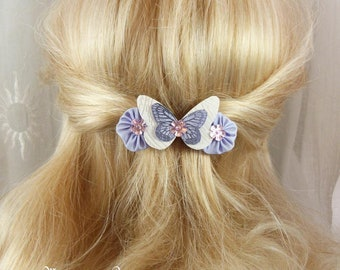 Barrette French 6 cm butterfly and flowers of silk white and purple Ombre, Spring - collection Mia, made in France