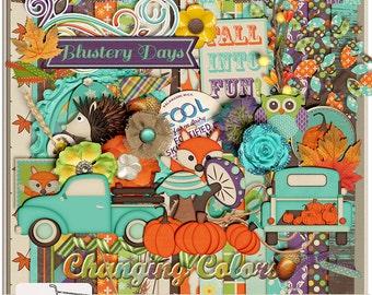 Blustery Days Fall Autumn Pumpkin Patch Digital Scrapbook Kit