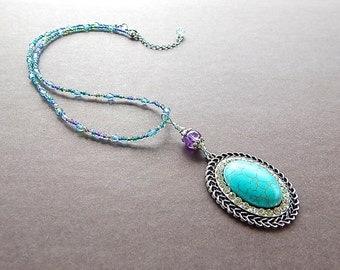 Sky Empress Necklace Large Blue Howlite Crystal Crown Oval Charm Beaded Glass Chain Victorian Style