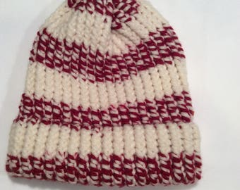 red and cream knit hat/ beanie