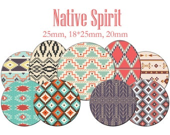 "Cabochons collage sheet / digital ""Native spirit of America Indian motifs"" round and oval"
