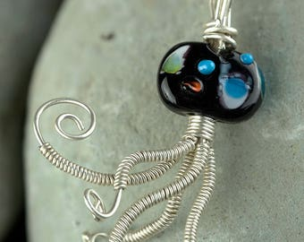 Handmade Fine Silver Wire Wrapped Lamp work Implosion Pendant Necklace
