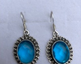 Aquamarine + Sterling Silver Earrings