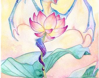 Lily Dragon- fantasy art print