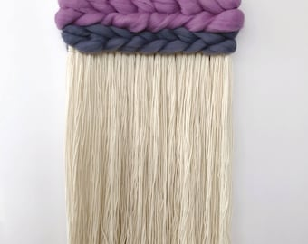 Purple and Gray Weaving with Braided Detail, Woven Tapestry, Woven Wall Art, Woven Wall Hanging, Fringed Wall Hanging, Wall Weaving