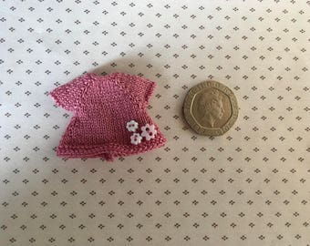 Dolls house Miniature 1/12th knitted toddler doll Dress