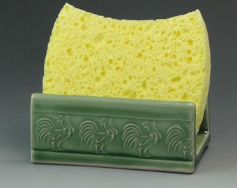 Ceramic Sponge Holder, Pottery Sponge Holder in Celadon Green with Rooster Motif, Soap Dish - READY TO SHIP