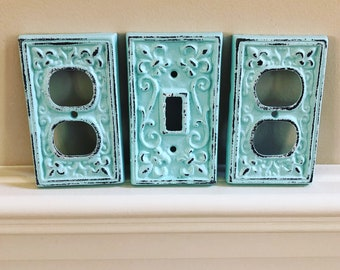 SALE/Cast Iron Double Light Switch Cover/single light switch cover/Nursery/Bedroom/Light Switch Plate/Pick color/Outlet Cover/