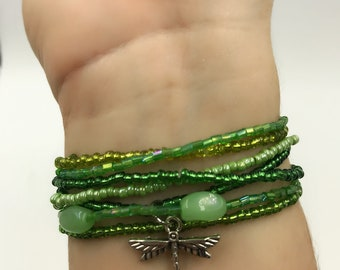Green Garden Dragonfly Stackable Bracelet Set