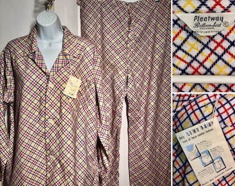 Vintage 1950s Mens Flannel Pajama Set With Tags Red Yellow Blue Plaid Size Large NOS New Old Stoc Deadstock Pleetway