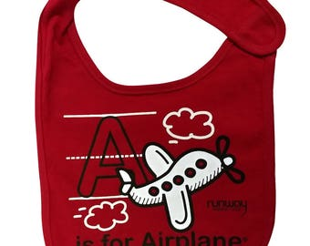 Red Baby 'A is for Airplane' Bib by runway THREE-SIX