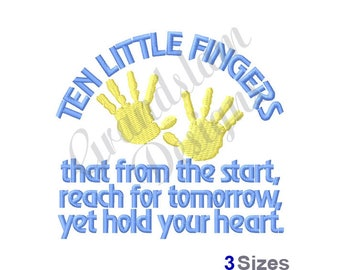 Ten Little Fingers - Machine Embroidery Design