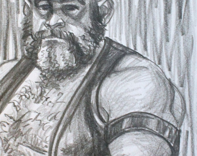 Thick Cut Leather Daddy, graphite on cotton paper, 6x9 inches  by KennEy Mencher