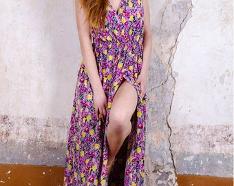 Long dress silk floral design