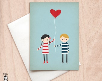 Love is in the Air - Blank Greeting Card, Valentine's Card, Couple Card, Anniversary Card, Just Because, Brother Sister Card, Cute Love Card