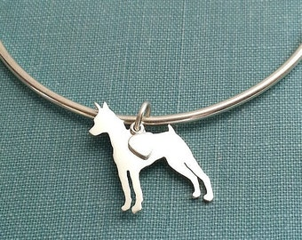 Miniature Pinscher Bangle Bracelet, Sterling Silver Personalize Pendant, Breed Silhouette Charm, Rescue Shelter, Mothers Day Gift