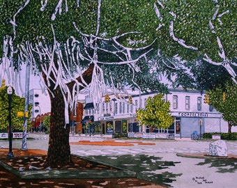 Toomer's Corner After The Win - -Print of The Original Watercolor by Michael Joe Moore