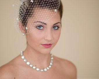 Wedding Birdcage Veil French Veiling with Dots Blusher Retro Style Wedding Veil 11 Colors Available