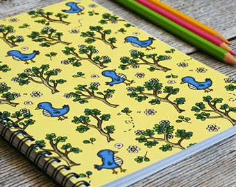Birdie In The Woods Notebook Sketchbook - 50 bound pages, recycled paper, for sketching, writing, school