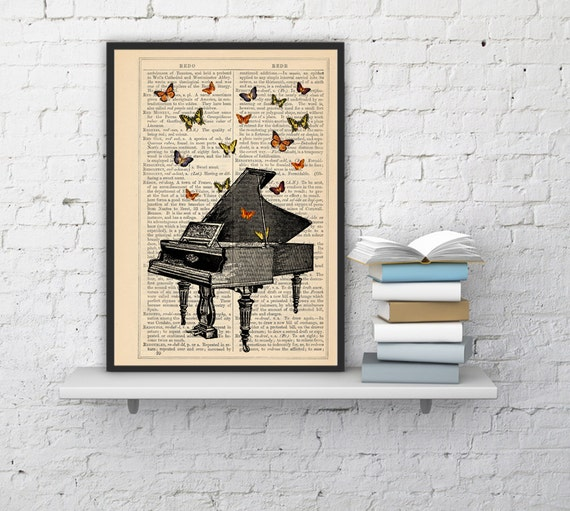 Butterflies over piano collage Print on Vintage Dictionary  page - book art print BFL086b