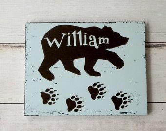 Nursery wooden sign - bear wood sign - baby children name wood sign - personalized name wood sign - rustic nursery - woodland decor - blue