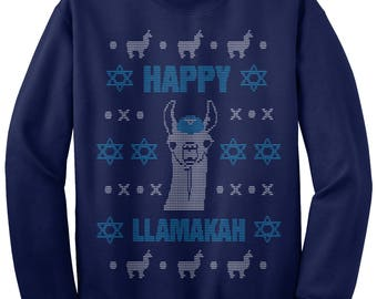 Happy Llamakah Llama Hanukkah Ugly Sweater Unisex Adult Crew Neck Sweatshirt