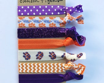 Clemson Cute Hair Ties  | Ready to Ship | Cute Team Hair Ties | Clemson Tigers Accessories | Ties for Teams