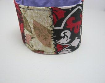 Patchwork Red Black Bohemian Fiber Art Textile Boho Chic  Cotton  Fabric Cuff Bracelet-Gift