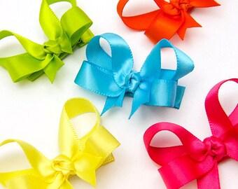 Baby Hair Bows, Set of 6 Satin Hair Bows, 2 inch Satin Bows, Infant Hair Bows, 113 Colors, for Newborn, Satin Baby Bows, Toddler, Girls