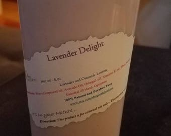 Lavender Delight 8.0oz body lotion. Vegan, natural, paraben free