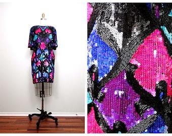 AVANT GARDE Heavily Beaded Sequined Dress // Bright Pink Purple Blue Sequin Trophy Dress Large XL