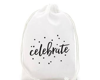 "White Linen Drawstring ""Celebrate"" Wedding Favour Bag - 2 sizes - Pack of 12"