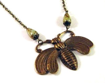 Large bee necklace Czech brown green beads jewelry vintage victorian style antique bronze brass bee pendant