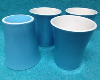 Royal China Blue Heaven Water Tumblers in Pottery Set of 4