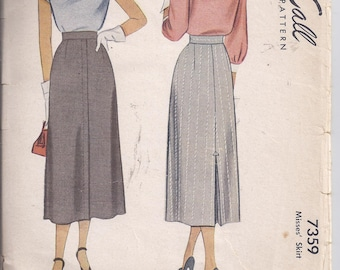 Vintage 1940's McCall's Pattern 7359 for Misses A-line skirt with kick pleat.  Waist 28