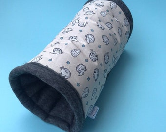 Padded fleece tunnel. Tube. Padded tunnel for hedgehogs, rats and small pets. Small pet cosy tunnel.
