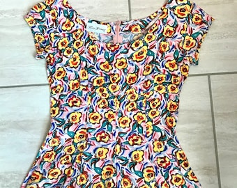 Vintage 1990s Floral Psychedelic Hippie Grunge Trippy Boho Hipster Skater Dress Sz 3 (US)