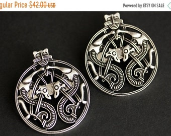 MOTHERS DAY SALE Two (2) Viking Brooches. Silver Apron Pins. Dragon Style Turtle Brooch Set. Shoulder Brooches. Norse Jewelry. Historical Je