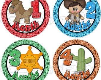 Baby Month Stickers set Baby Boy Shower gift Infant Month Milestone stickers Onepiece Stickers Month to Month cowboy Monthly decals western