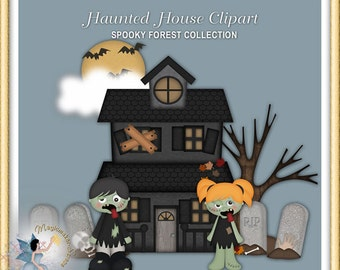 Haunted House Clipart, Halloween, Zombies