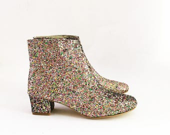 Edie Multicolor Confetti Glitter Heeled Ankle Boots (Handmade to Order)