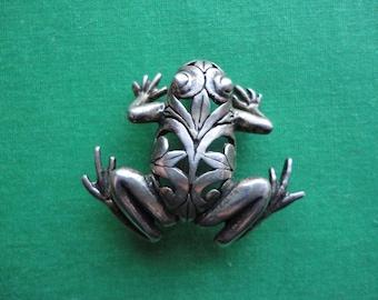 Vintage Jerlaine Sterling Frog Brooch