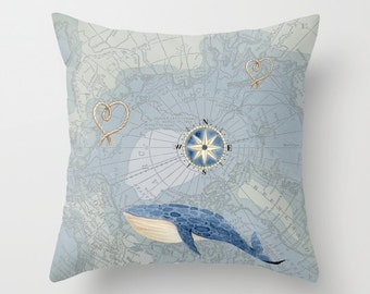 Nautical Whale  Pillow - Throw Pillow maps , costal decor, Vintage Maps, unique, blue