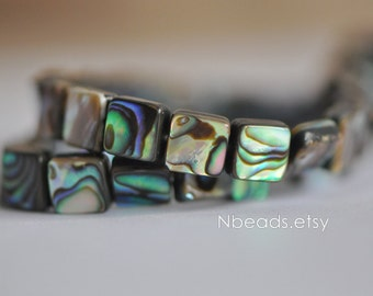 "Abalone Shell Square beads 8mm Two-Sided Paua Shell beads (V1246)/ 16"" Full strand"