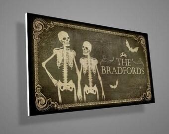 Skeletons Front Door Sign,Family Name Sign,custom family name,Welcome Sign,door sign,family sign,skull,skeleton,housewarming,christmas gift