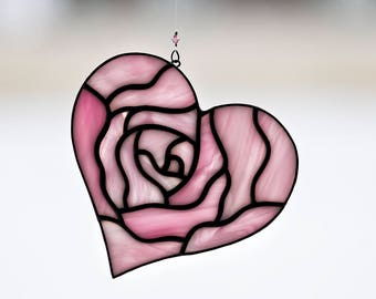 Pink heart, stained glass pink heart suncatcher, rose heart, stain glass pink rose heart ornament, Valentine's Day gift, pink rose