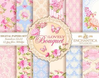 Digital Paper Floral, Floral Digital Papers, Shabby Chic Digital Paper, Vintage Floral Digital Paper Scrapbook Background Pink Roses Pattern