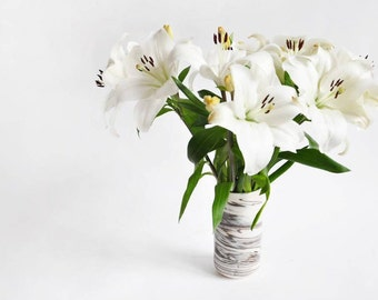 Marbled Porcelain Vase - Available to Ship Now