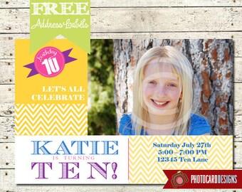 Chevron Birthday Photo Invitation | Card | Printable | DIY | Print file | invite | banner | Teen | Birthday Invitation | Party | Personalize