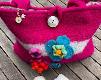 FREE SHIPPING Ready to Ship:  Felted Bag Handmade Shoulder Bag Project Bag Yarn Bag Crochet Project Bag Knitting Project Bag Gift